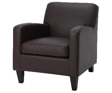 Ikea Jappling Brown Faux Leather Armchair & Ottoman