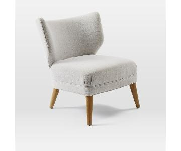 West Elm Retro Wing Chair in Chenille Tweed Frost Gray