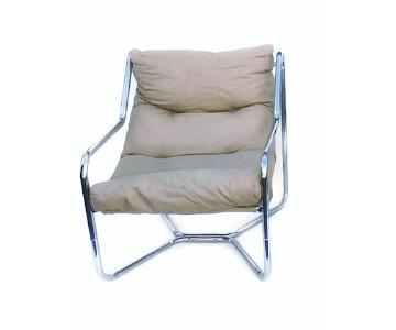 1970's Chrome Sling Chair & Ottoman in Grey Ultra Suede