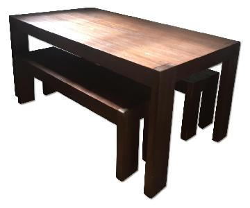 West Elm Boerum Farm Table w/ 2 Matching Benches
