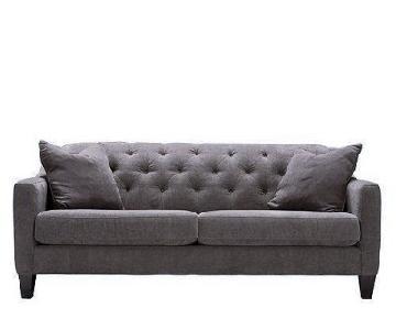 Raymour & Flanigan Grotto Dark Grey Tufted Sofa