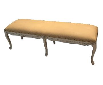 Louis J Solomon Wood Upholstered Bench