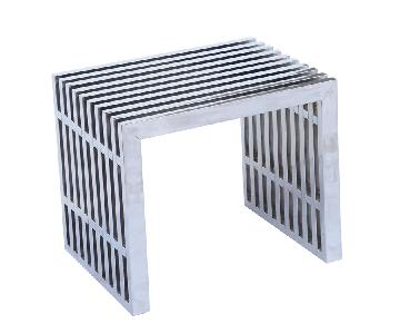 Short Brushed Stainless Steel Contemporary Bench