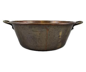 Vintage Rolled Rim Copper Bowl Decorative Planter