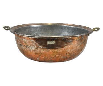 Antique Copper Bowl Decorative Planter