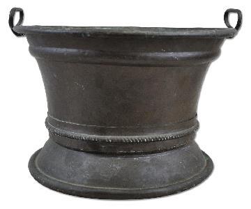 Vintage Hand Hammered Rolled Rim Green Patina Copper Bowl
