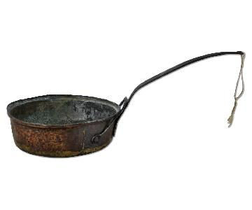 Antique Copper Saute Pan w/ Bracketed Handle