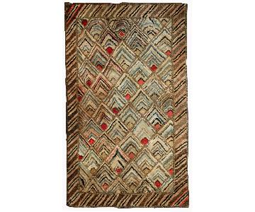 Antique 1900s American Hooked Rug