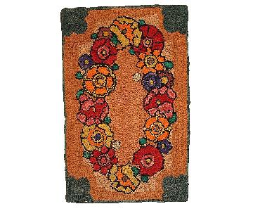 Antique 1940s American Hooked Rug