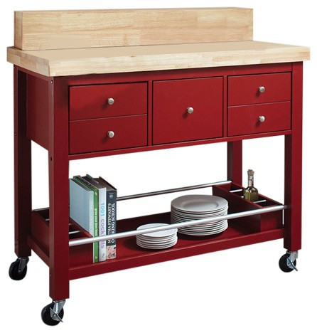 Coaster Red Kitchen Cart