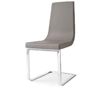 Calligaris Taupe Leather Cruiser Dining Chair