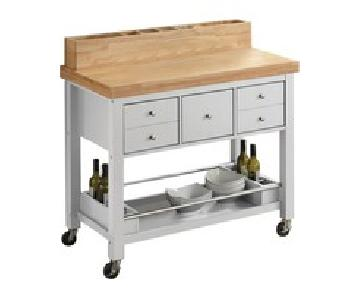 Coaster White & Natural Brown Kitchen Cart