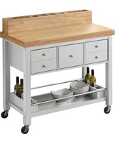 Coaster White & Natural Brown Kitchen Cart