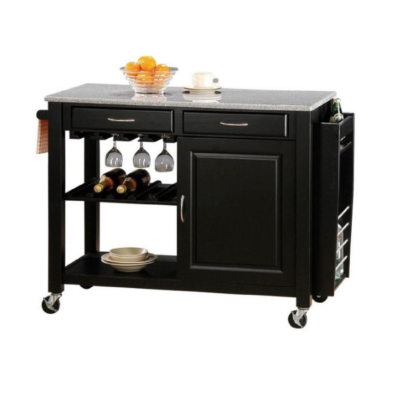 Black Kitchen Cart w/ Granite Top
