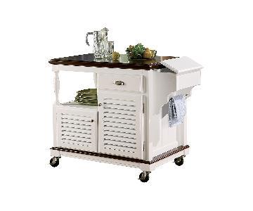 Coaster White & Melot Ktichen Cart