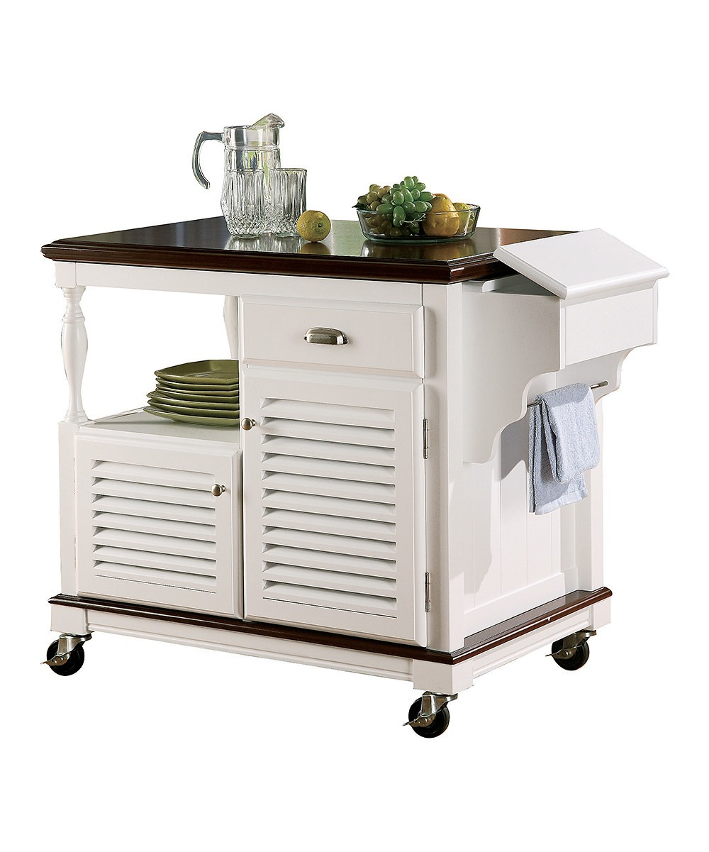 Coaster White & Melot Ktichen Cart