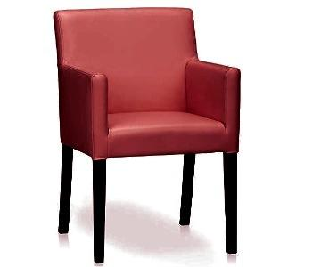 Crate & Barrel Red Leather Dining Chair w/ Arms