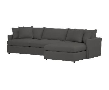 Crate & Barrel Grey Microsuede Sectional Sofa