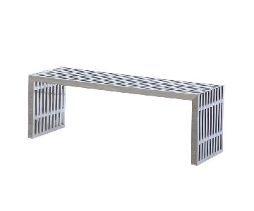 Long Brushed Stainless Steel Contemporary Bench