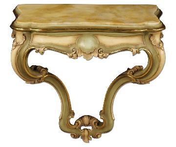 Venetian Console Table in Lacquered & Gilt Wood