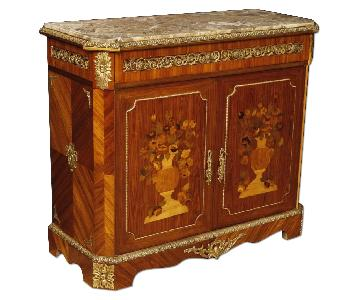 French Inlaid Sideboard in Wood w/ Marble Top & Bronzes