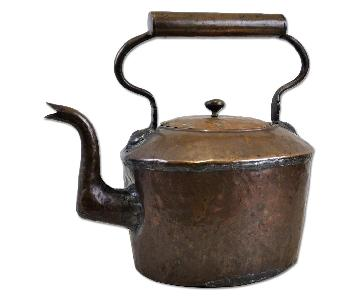 Antique French Style Hand Hammered Copper Tea Pot Kettle