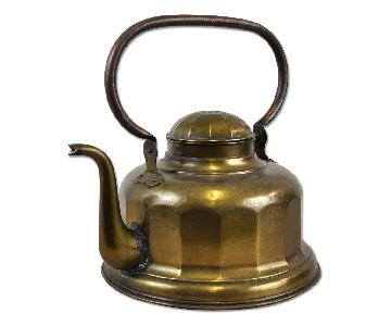 Large Antique Vintage Art Deco Brass Kettle Teapot