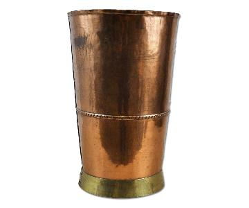 Antique Handcrafted Copper Drinking Glass w/ Brass Base