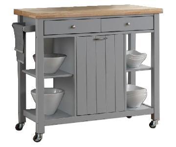 Coaster Light Grey & Natural Top Kitchen Cart