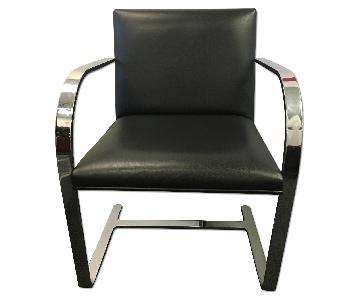 Modern Leather & Metal Arm Chair
