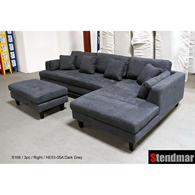 Stendmar Modern Dark Grey Microfiber Chaise Sectional Aptdeco ~ Grey Suede Sectional Sofa