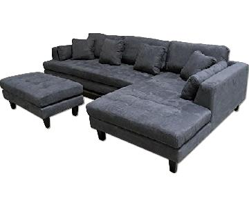 Stendmar Modern Dark Grey Microfiber Chaise Sectional Sofa