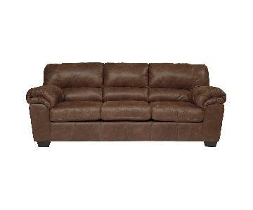 Ashley Stationary Brown Sofa