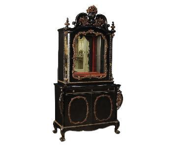 Dutch Sideboard In Oak & Ebonized Wood w/ Mirrors