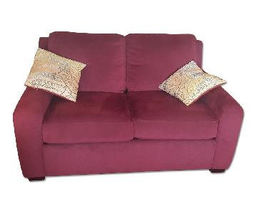 American Leather Burgundy Ultra-Suede Loveseat