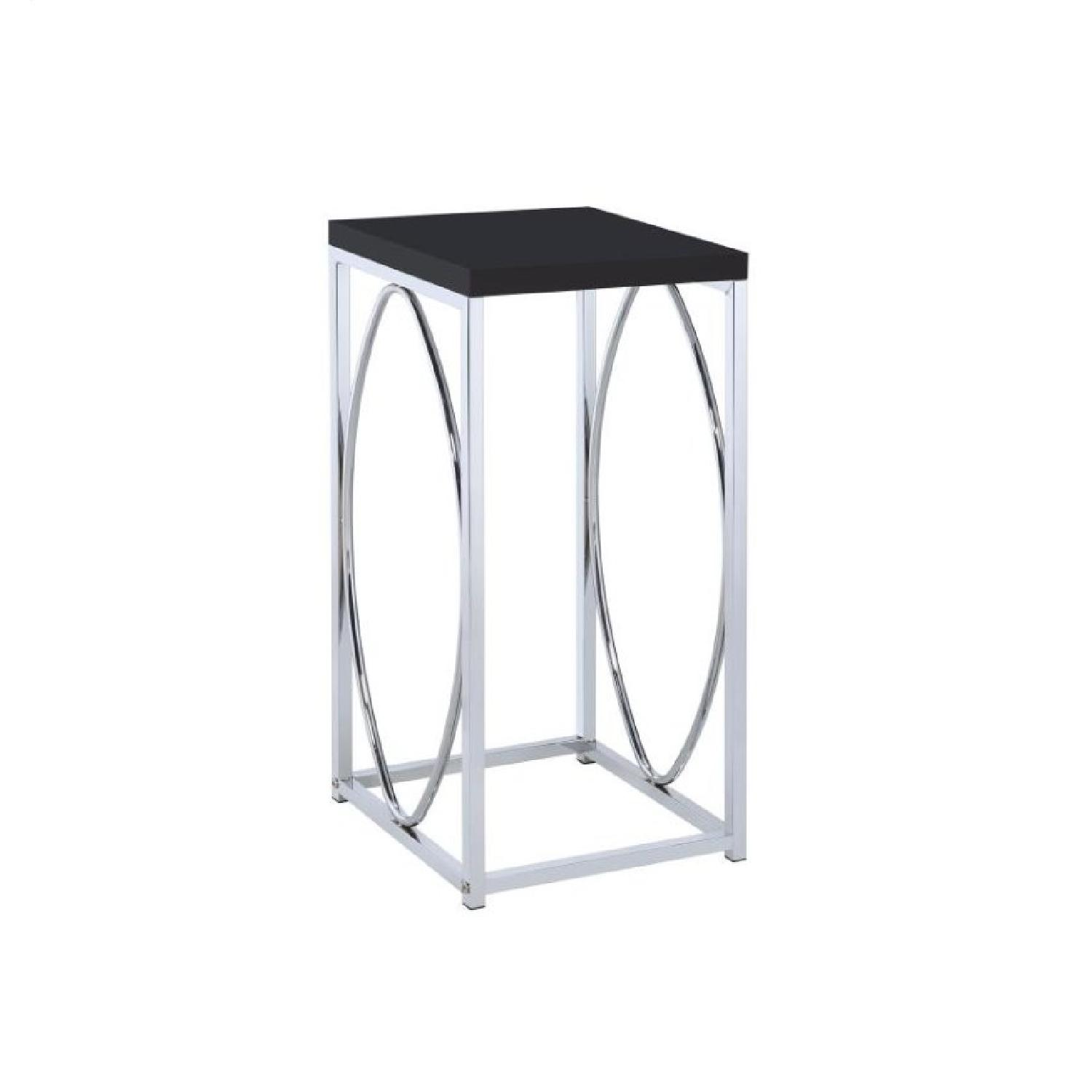 Chrome & Black Accent Table
