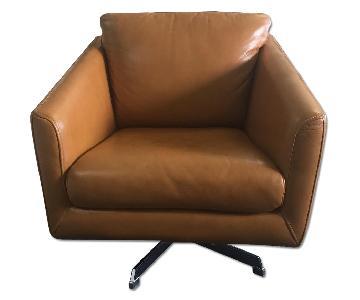 Moroni Jay Leather Armchair w/ Chrome Legs