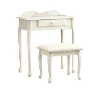 Monarch Specialties Antique White Vanity w/ Cushioned Stool