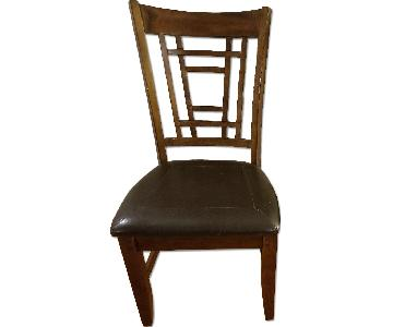 Raymour & Flanigan Wooden Dining Chair w/ Leather Seat