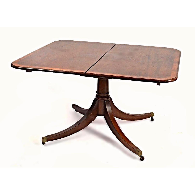 Vintage Sheraton Style Mahogany Banded Dining Table