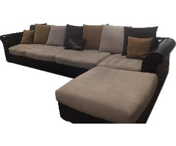 Macy's Chocolate Leather & Microfiber Sectional Sofa