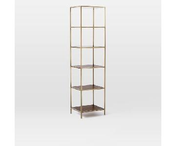 West Elm Nook Walnut/Antiqued-Brass Tower
