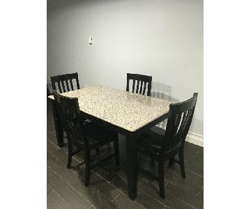 Modern Black 5-Piece Dining Set w/ Granite Top