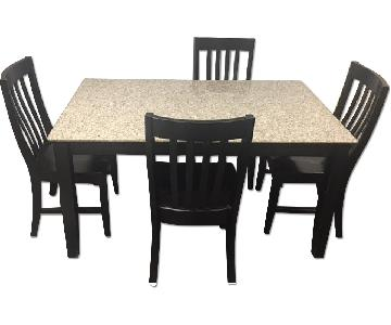 Modern Black 5-Piece Dining Set w/ Granite Top