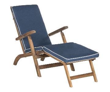 Safavieh Outdoor Lounge Chair in Teak Brown & Navy
