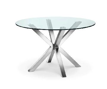 Lievo Glass Brushed Metal Bella Dining Table