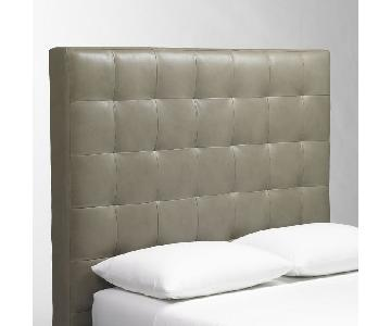 West Elm Tall Leather Grid Tufted Headboard