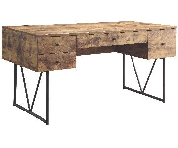 Modern Antique Nutmeg 4-Drawer Computer Desk
