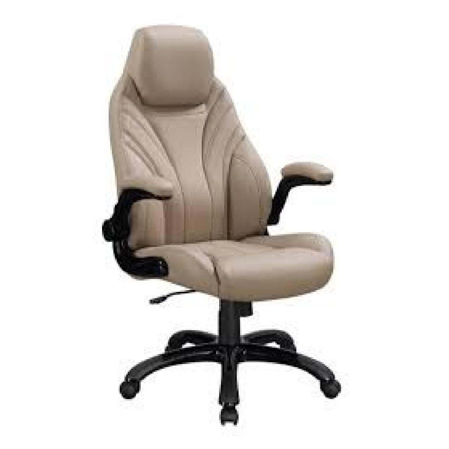 High-Back Leatherette Executive Office Chair in Tan