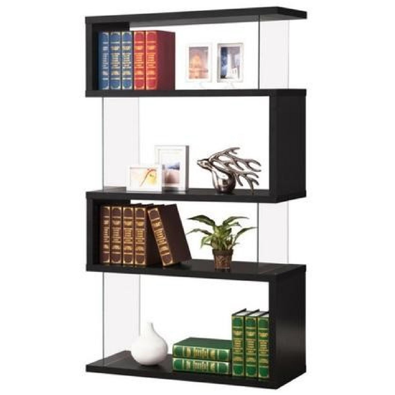 Modern Asymmetrical Snaking Bookcase in Black Color
